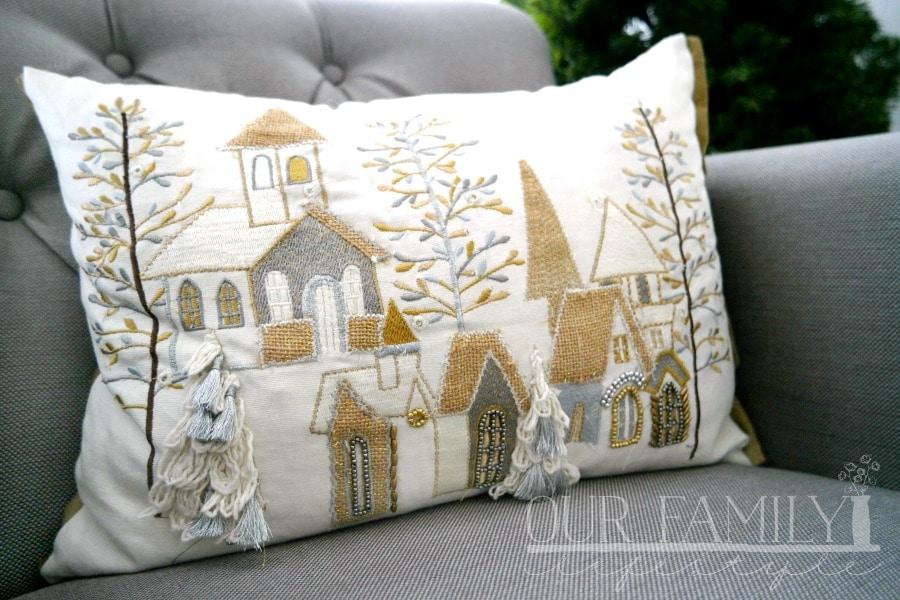 Light-Up Christmas Village Lumbar Pillow