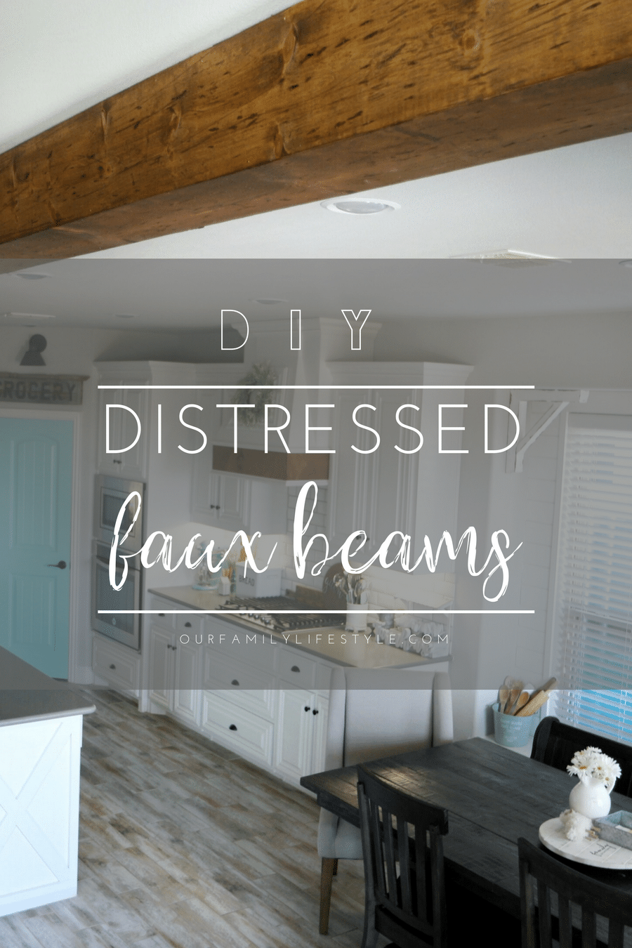 DIY Distressed Faux Beams
