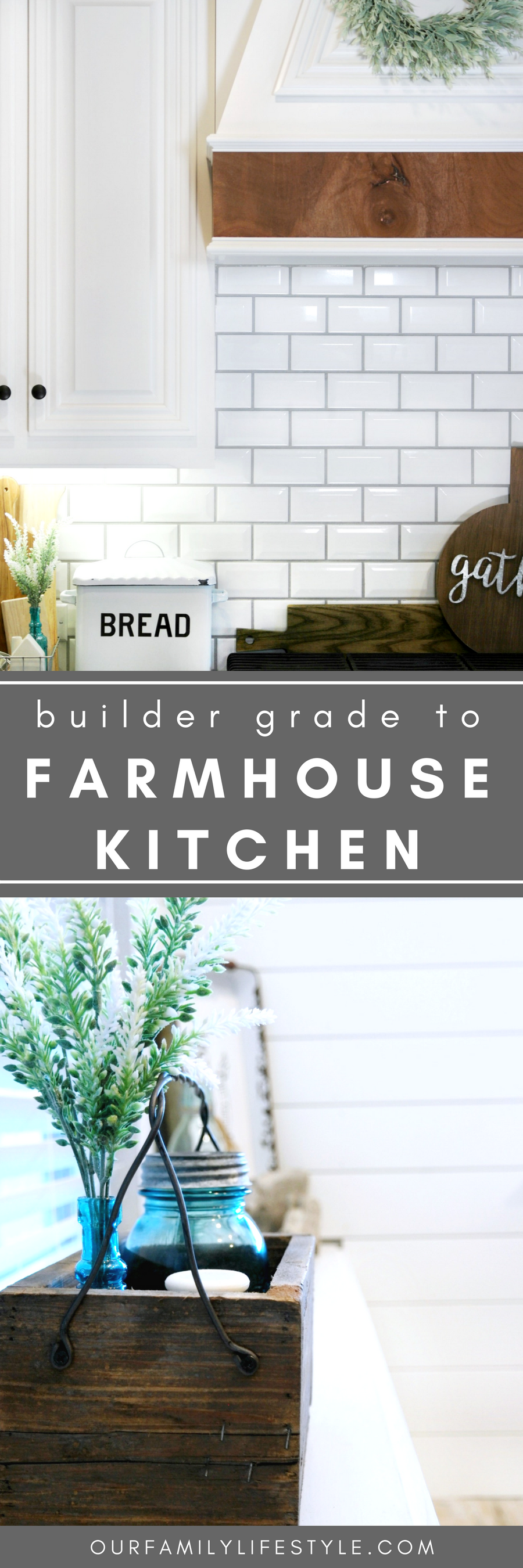 Going from Builder Grade to Farmhouse Kitchen; Through a partnership with The Home Depot, we've worked diligently to transform our builder grade kitchen to the farmhouse style kitchen we've envisioned.
