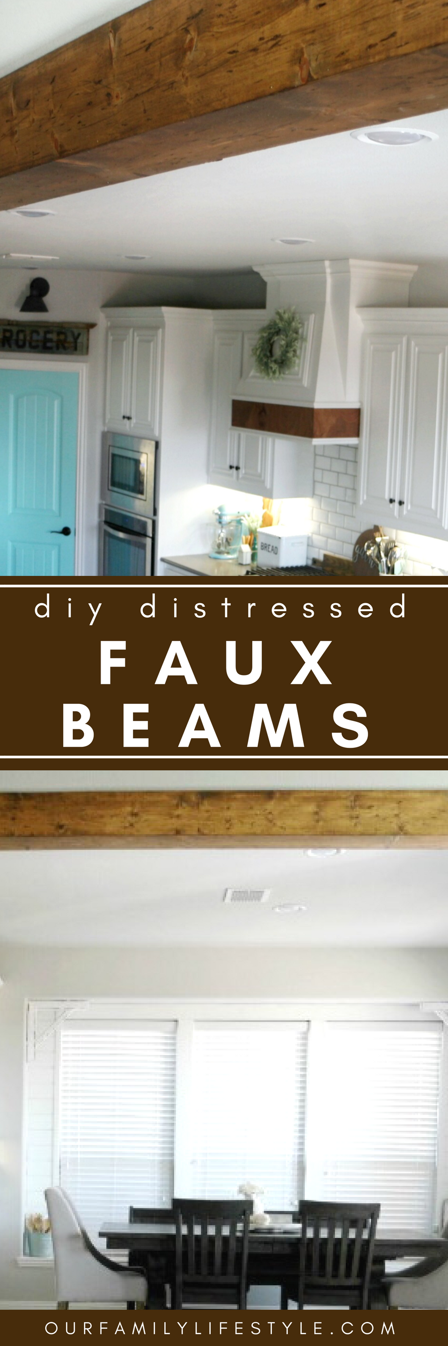 DIY Distressed Faux Beams - See how we took three common pine boards, beat them with chicken wire and hand tools to give them a distressed look; then hung them as faux beams in our house!