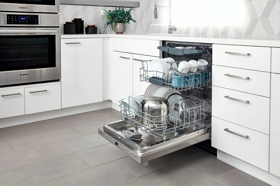 Bosch, available at Best Buy, is the quietest dishwasher brand in the U.S. It features 18 sound reducing technologies and you only know it's running because of the InfoLight®.