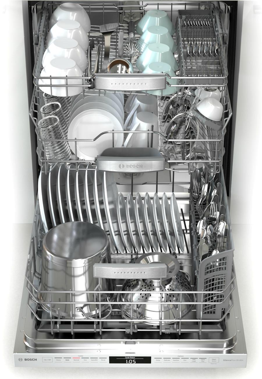 Bosch 800 Dishwasher MyWay 3 rack loaded