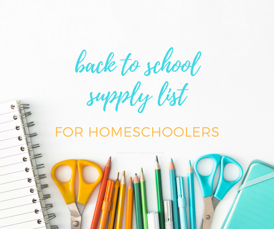back to school supply list for homeschoolers