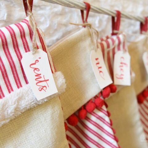 family stockings name tags
