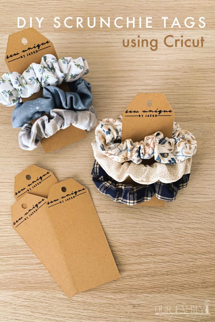DIY scrunchie tags using Cricut