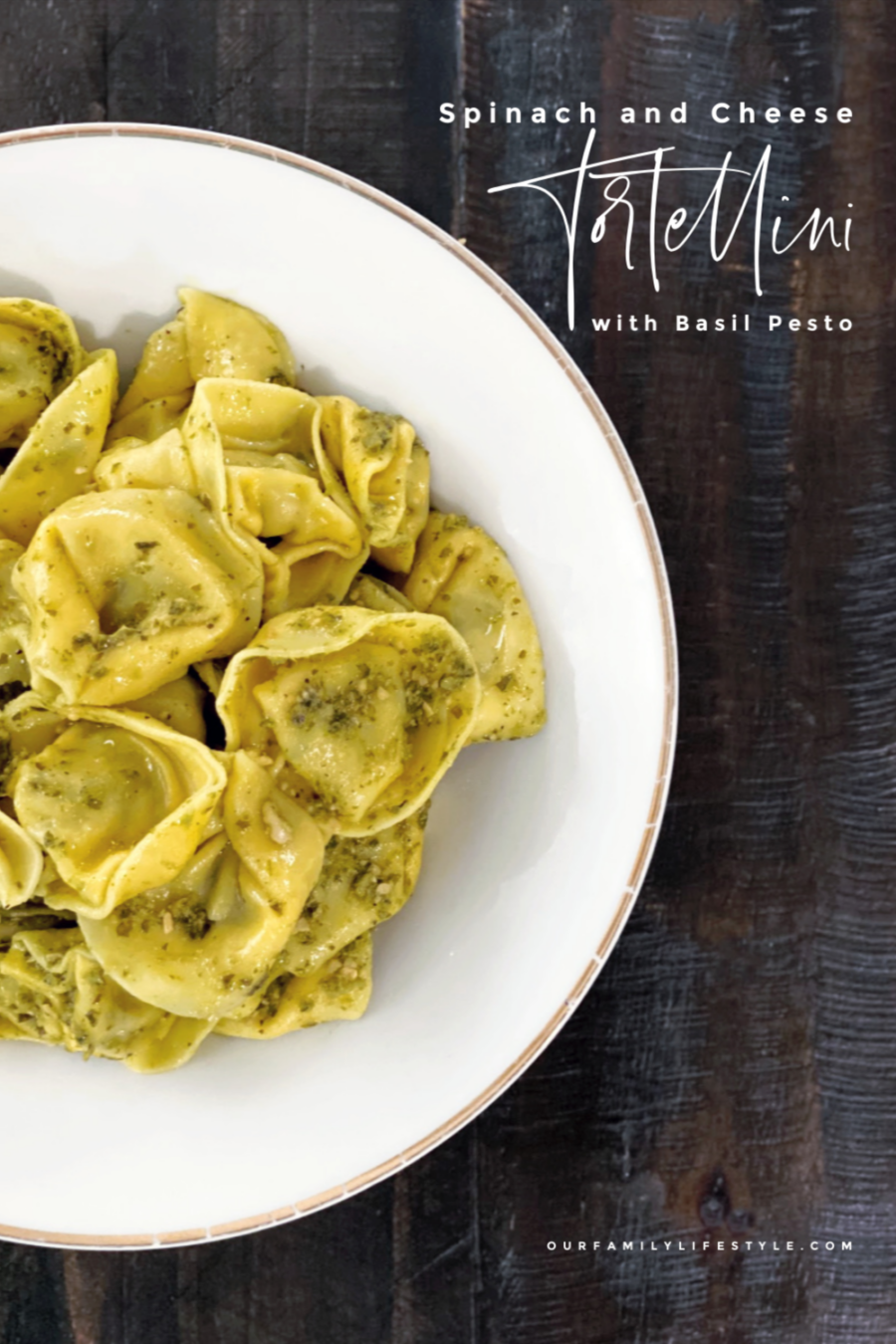 Spinach and Cheese Tortellini with Basil Pesto