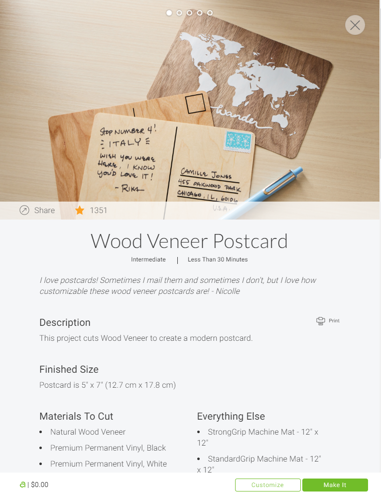 Wood Veneer Postcard - Cricut Access