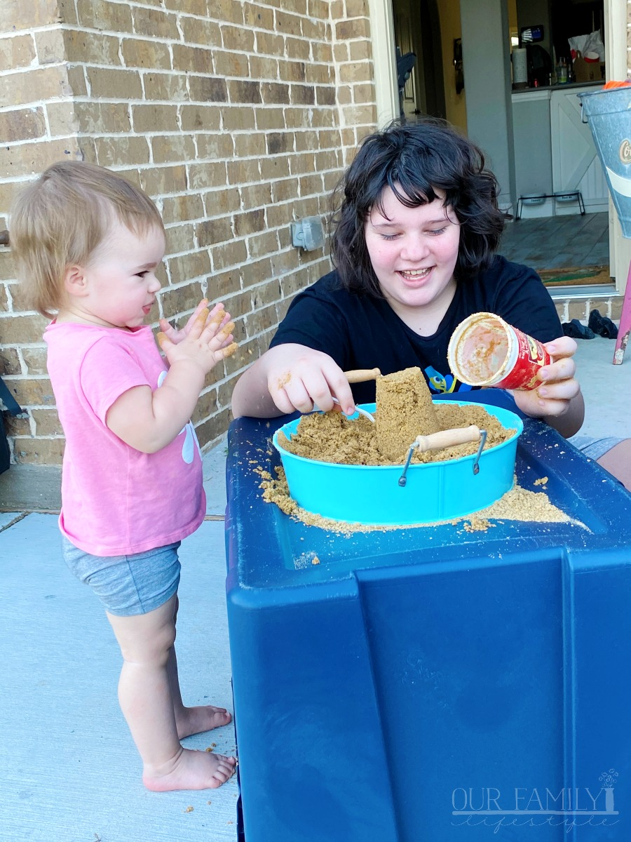 homemade sand box play