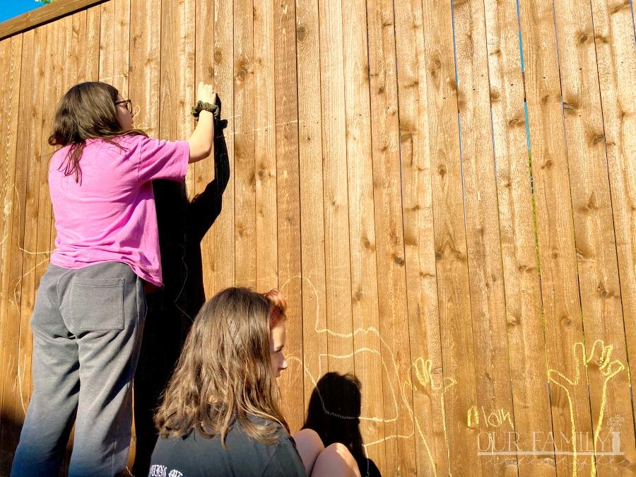 chalk art on wooden fence
