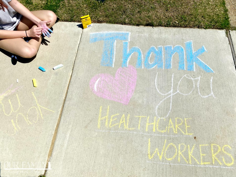 thank you healthcare workers sidewalk chalk