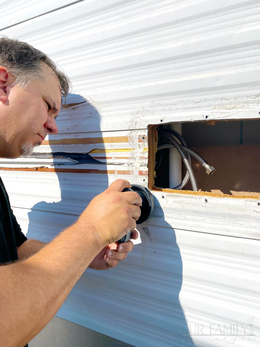 replacing outdoor shower on travel trailer