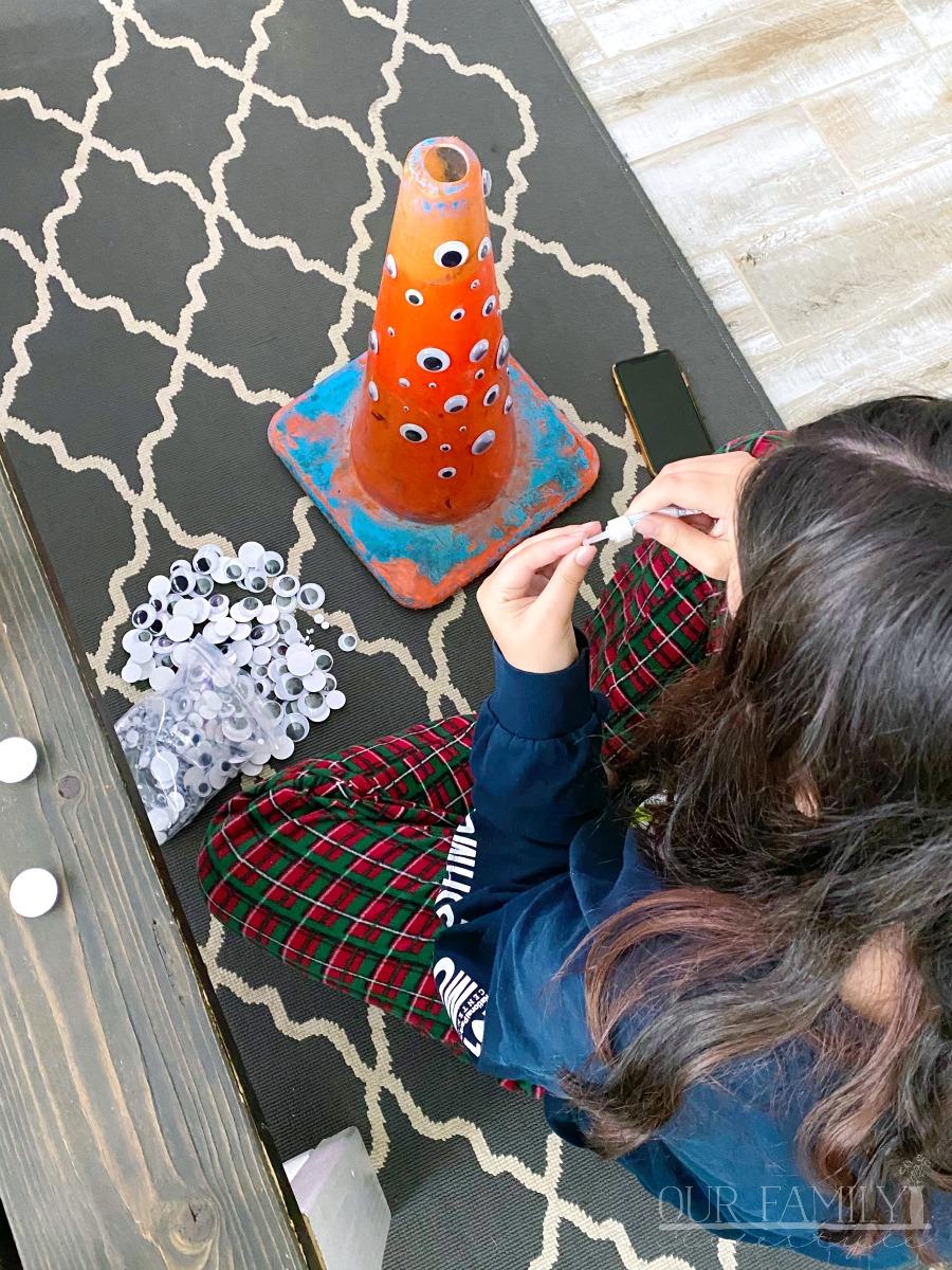 adding googly eyes to a cone
