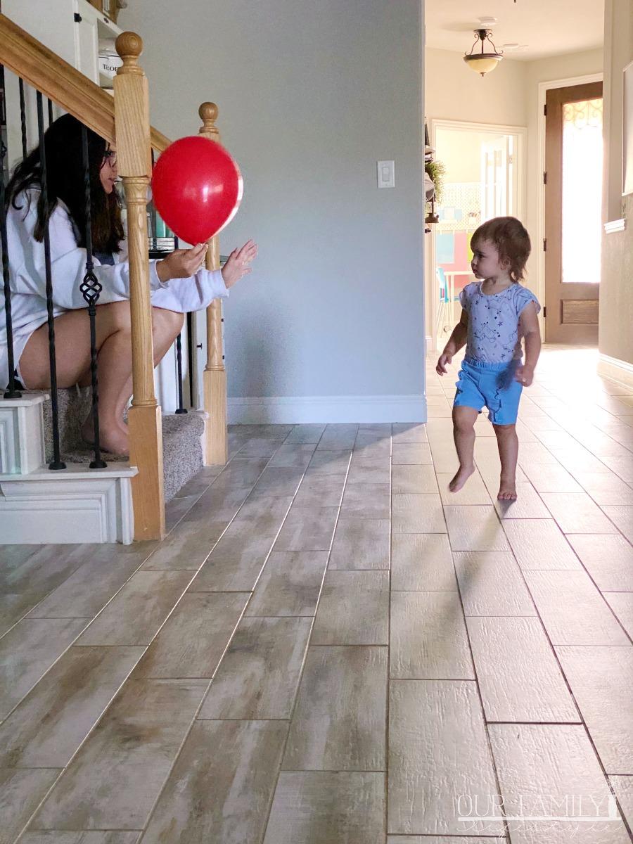 birthday balloon and baby