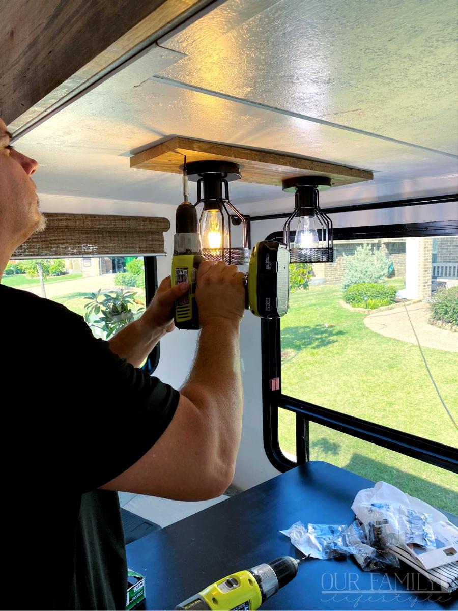 finishing travel trailer lights
