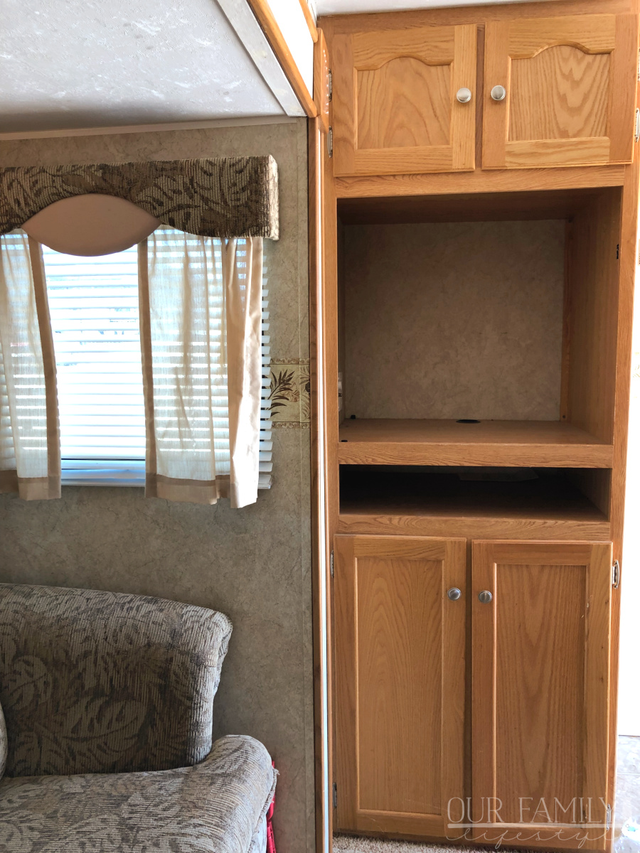 original RV trailer entertainment center