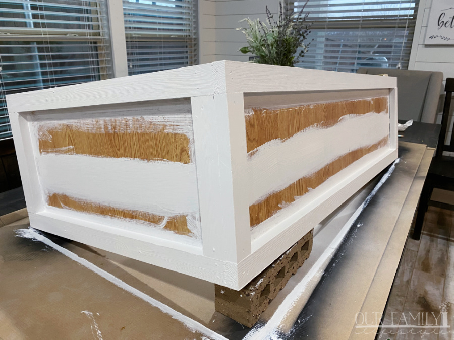 paint bench before adding shiplap
