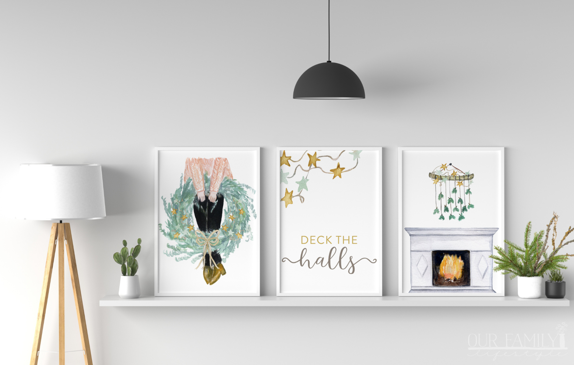 Deck the Halls Set of 3 Printable Christmas Wall Art
