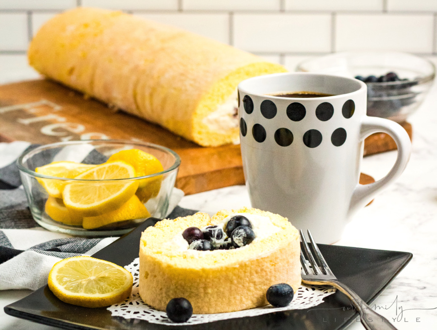 Lemon Blueberry Swiss Cake Roll recipe