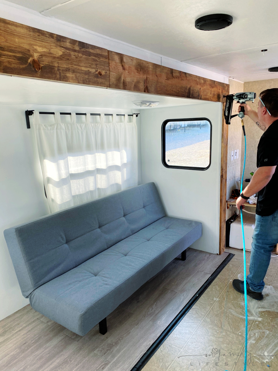 nailing stained wood trim around rv travel trailer slide out