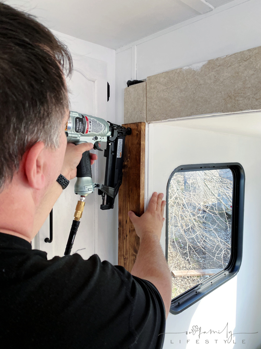 nailing wood trim to travel trailer slide out