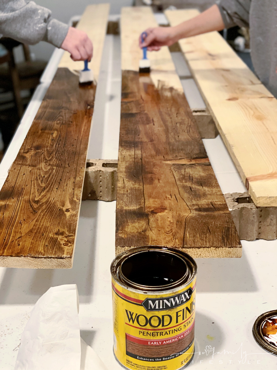 staining trim with Minwax Early American for rv travel trailer slide