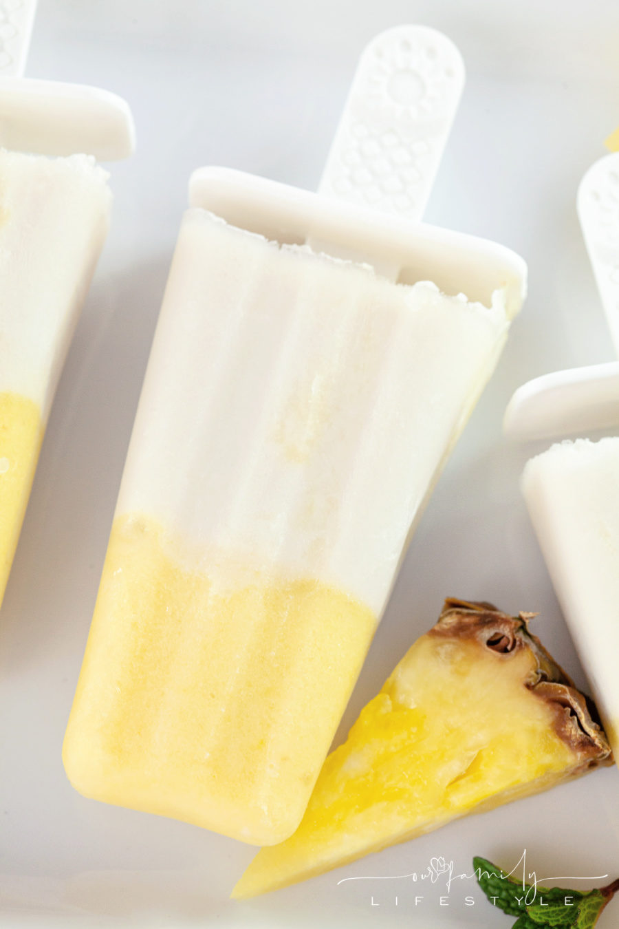 Pineapple and coconut ice pops