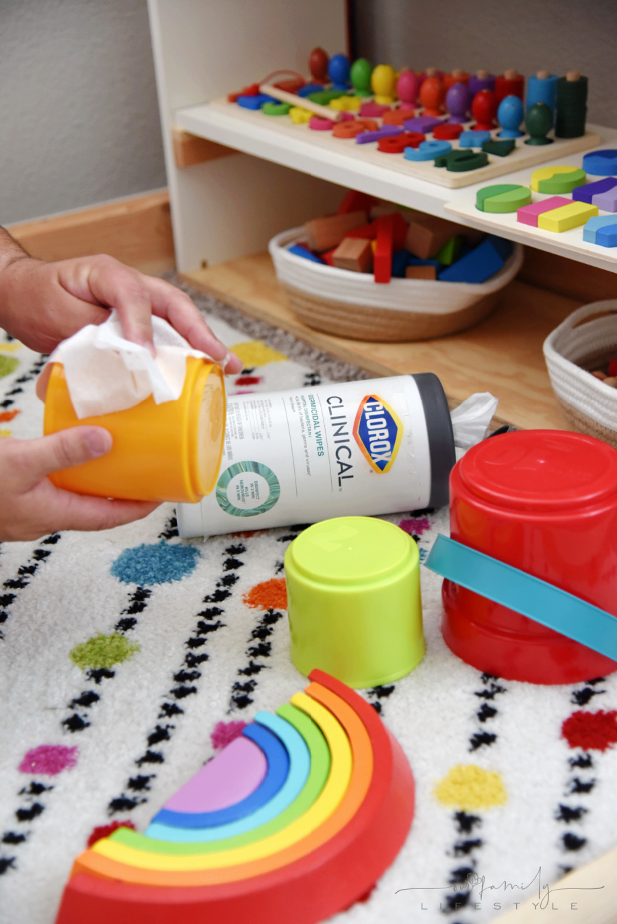 Clorox Clinical Germicidal Wipes for cleaning toys