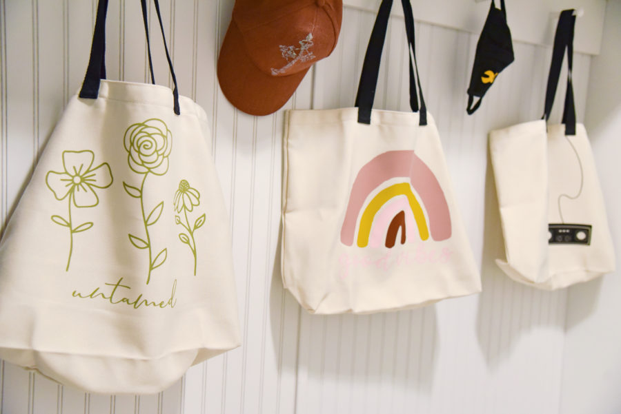 Cricut tote bags with Everyday Iron-on Design space art