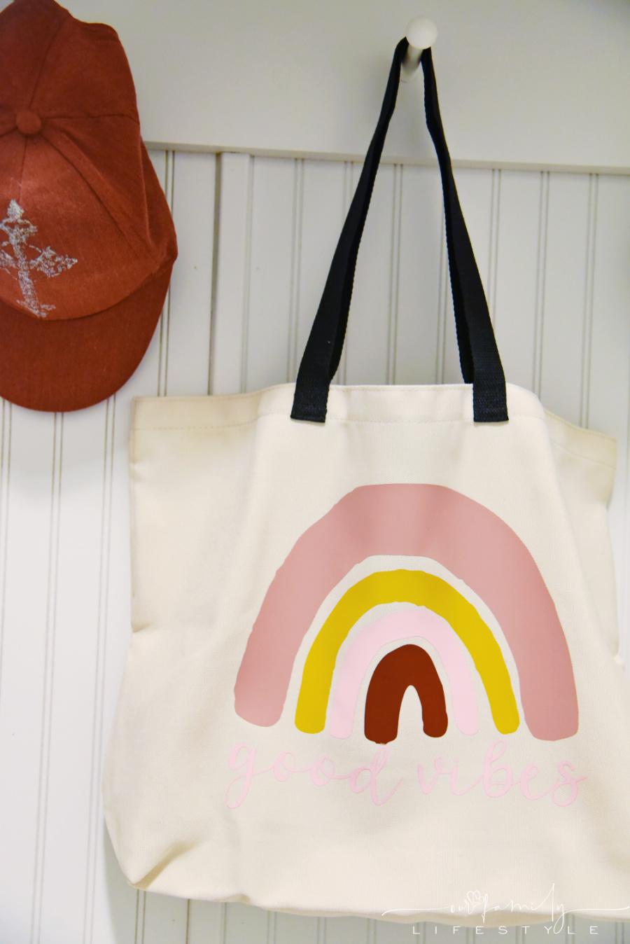 good vibes boho rainbow tote bag using Cricut vinyl