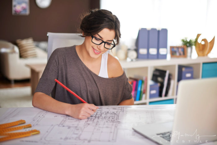 Freelancer architecture working in home office