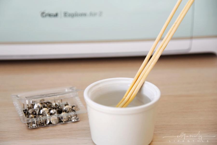 soak bamboo skewers prior to sticking with thumbtack
