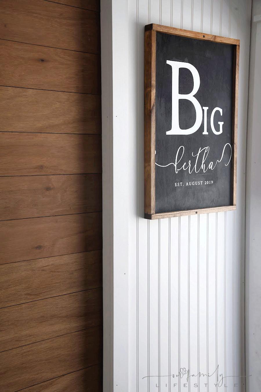Big Bertha wooden sign
