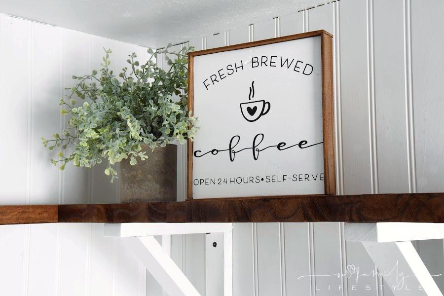 DIY fresh brewed coffee sign